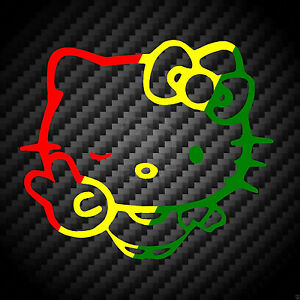 Hello Kitty Rasta Peace Sign Winking Bow Car Wall Vinyl Window Decal