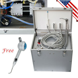 Us Portable Dental Delivery Unit Air Compressor Suction System W Iplex Syringe