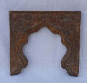 Indian Old Antique Hand Carved Wooden Arch Penal Frame With Parrot Figure
