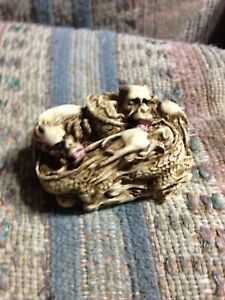 Japanese Netsuke Three Figures 5 Dragon Group Sleeping Cat Rabbit Pair