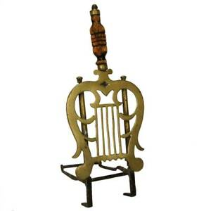 Antique English Regency Brass And Iron Lyre Form Fireplace Trivet C 1820