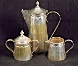 Antique Vintage Art Deco Silver Plate Coffee Set Made In Mexico Collectible 3 Pc