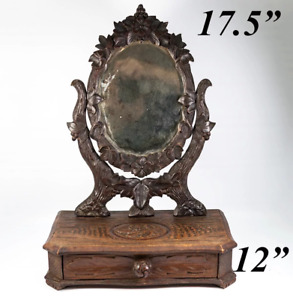Antique Hc Black Forest 17 5 Tall Vanity Stand Mirror Drawer 12
