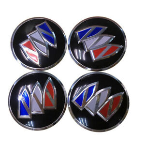 Black For Buick 56mm Domed Emblem Badge Wheel Center Hub Cap Decals 4 Stickers