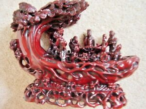 Chinese Large Red Resin Dragon Boat Statue Figurine