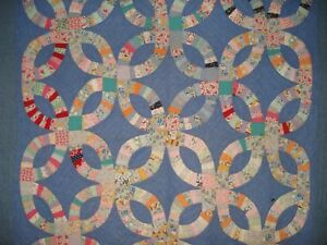 Antique Double Wedding Ring Quilt Hand Pieced Hand Quilted Denim Bandana