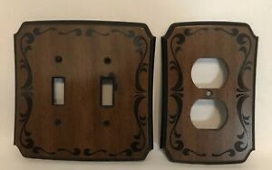 Vtg Wood Look Double Light Switch Plate Outlet Cover American Tack Howe 1979