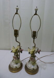 Vtg 1940 S French Cordey Yellow Bird Pink Roses Porcelain Table Lamp Set Of 2