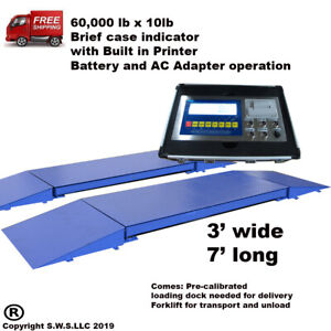 Portable Truck Axle Scale With Indicator 60 000 X 10 Lb Heavy Duty 7 L X 3 W