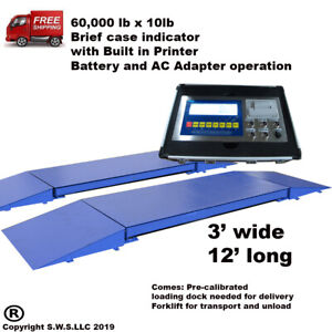 Portable Truck Axle Scale With Indicator 60 000 X 10 Lb Heavy Duty 12 L X 3 W