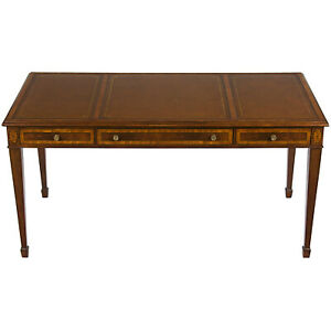 New Antique Sheraton Style Writing Table Leather Top Library Desk Partners