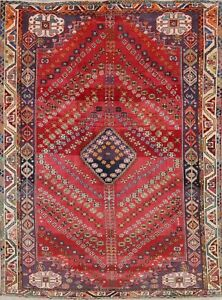 Abadeh Persian 6x8 Wool Hand Knotted One Of A Kind Geometric Oriental Area Rug