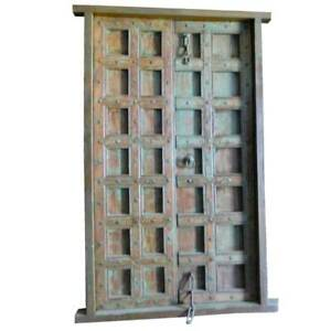 Antique Large Indian Painted Teak Iron Double Door With Frame 19th Century