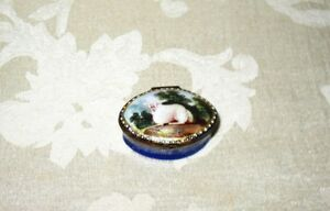 A Rare Bilston Enamel Snuff Box Late 1700 S Early 1800 S With Hand Painted Sheep