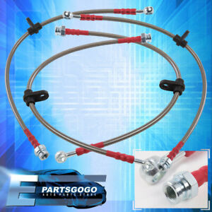 For 98 02 Accord Front Rear Stainless Steel Hose Oil Brake Line Cable Red Cap