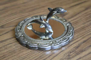 Antique Sterling Silver Dolphins Figurines On Mirrored Wooden Base 925