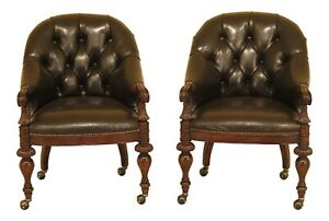 F30659ec Pair Thomasville Tufted Leather Barrel Back Club Chairs