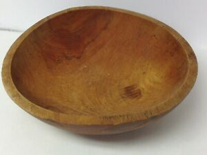 Large Heavy Vintage Antique Wooden Bowl Hardwood Not Quite Round