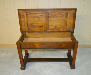 Oak Piano Bench With Storage Compartment