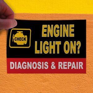 Decal Sticker Engine Light On Auto Car Vehicle Automotive Outdoor Store Sign