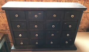 Vintage Primitive Apothecary Cabinet Wood 16 Spice Drawer Storage Chest Enamel