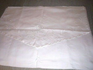 Vintage Fine Linen Monogrammed Embroidered Pillow Case