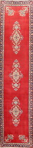 Vintage Palace Size Floral Red 3x14 Wool Oriental Runner Rug 13 7 X 3 2