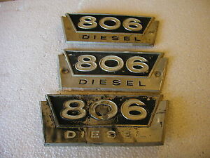 3 Farmall 806 Diesel Tractor Original Ih Front Side Emblems