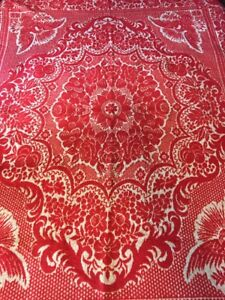Coverlet Eagle Motif Red White Heavy Wool Linen Fringed Weave Americana Textiles