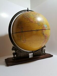 1960s Rare 12 Cram Terrestrial Globe Supported By Twin Atlases Wood Stand