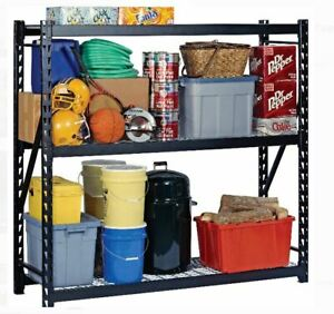 Garage Storage Rack Shelf Adjustable Organizer Heavy Duty Steel Black 3 Tier