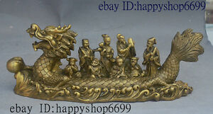 12 Classic Chinese Taoism Pure Brass Eight Immortals God Sit Dragon Boat Statue