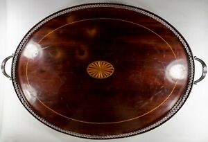 Sterling Silver Mounted Inlaid Wood Gallery Tray Meriden Brittania