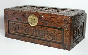 Vintage Hand Carved Chinese Camphor Wood Chest Ship Floral Motif