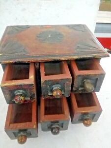 Old Vintage Small Chest Of Drawers Handmade Miniature Tiny 6 Drawer Wooden Rack