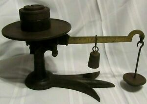 Vintage Antique Large Cast Iron Fairbanks Slide Weight Counter Style Scale Store