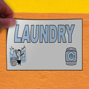 Decal Sticker Laundry Business Laundromat Outdoor Store Sign Light blue