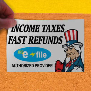 Decal Sticker Income Taxes Fast Refund Business Business Income Store Sign Blue