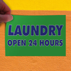 Decal Sticker Laundry Open 24 Hours Business Laundry Outdoor Store Sign Green