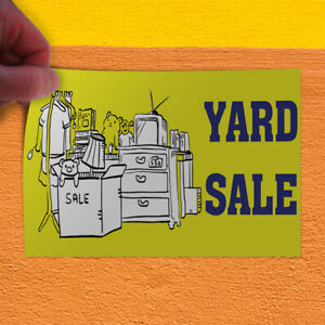 Decal Sticker Yard Sale 1 Style B Business Yard Outdoor Store Sign Yellow