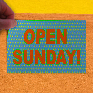 Decal Sticker Open Sunday Blue Orange Business Open Sunday Outdoor Store Sign