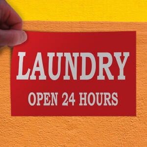 Decal Sticker Laundry Open 24 Hours Red Business Outdoor Store Sign Red