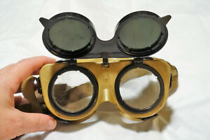 Vintage Welders Goggles Flip Up Shade Safety Glasses Steampunk Cosplay Mad Sci