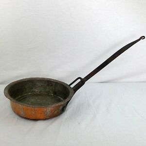 Antique Handcrafted Hammered Copper Iron Pan Tin Lined Rustic Primitive Decor