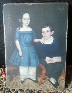 Handmade Primitive Folk Art Girl Boy Blue Dress Print On Canvas Board 5x7