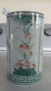 Antique Chinese Porcelain Hand Painted 5 Brush Pot Vase Pencil Cup