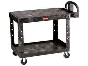 Rubbermaid Heavy Duty Ergo Handle Flat shelf Service Utility Cart 500lb Cap