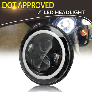 7inch Led Motorcycle Black Headlight Projector Drl Head Lamp For Harley