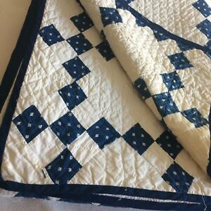 Antique Vtg Quilt Hand Quilted 9 Patch Ivory Indigo 88x73 Farm Cot Chic