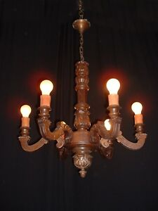 Antique Amazing French Carved Wood Chandelier France